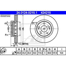 ATE 24.0124-0215.1 (MR205215 / 424958 / MR128659) диск тормозной передний\ Mitsubishi (Мицубиси) Outlander (Аутлендер) 2.0 / 2.0t / 2.4 4wd 03>