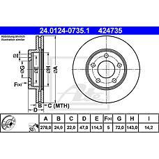ATE 24.0124-0735.1 (E1003325XA / 4454777 / 4360107) диск тормозной