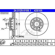 ATE 24.0125-0105.1 (4A0615301C / 4A0615301D / 4A0615301E) диск тормозной передний 10 отв.\ Audi (Ауди) 100 / a4 / a6, VW Passat (Пассат) all 90>