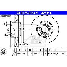 ATE 24.0125-0114.1 (1001093 / 7M0615301E / 1045994) диск тормозной передний\ Ford (Форд) galaxy, VW Sharan (Шаран) 1.8-1.9tdi 95>