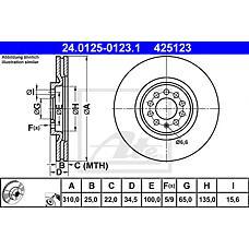 ATE 24.0125-0123.1 (8N0615301A / 8L0615301 / 6R0615301B) диск тормозной