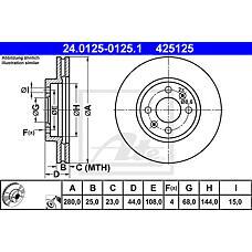 ATE 24.0125-0125.1 (4002143 / 8965980) диск торм. пер. Saab (Сааб) 9000  не менее 2 единиц