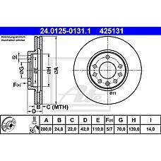 ATE 24.0125-0131.1 (569060 / 9117678 / 90539466) диск тормозной