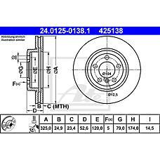 ATE 24.0125-0138.1 (34101166071 / 34116769305 / 34116855156) диск тормозной