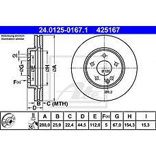 ATE 24.0125-0167.1 (1694210212 / 1694211112 / A1694210212) диск тормозной передний\ mb w245 2.0 / 1.8cdi / 2.0cdi 05>