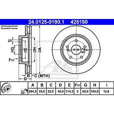 ATE 24.0125-0190.1 (5521165J00 / 5521165J01 / 5521165J00000) диск тормозной