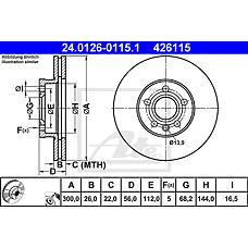 ATE 24.0126-0115.1 (7D0615301B / 1141782 / 7M3615301A) диск тормозной
