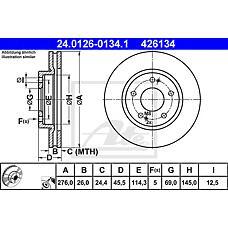 ATE 24.0126-0134.1 (MR510966 / MR510967 / MR510965) диск тормозной передний\ Mitsubishi (Мицубиси) airtrek / spase runner 2.0i / 2.4gdi 00-07