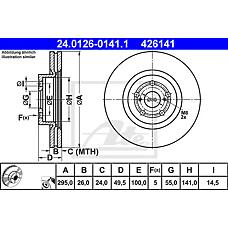 ATE 24.0126-0141.1 (4351205070 / 4351205050 / 4351205110) диск тормозной