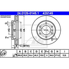 ATE 24.0126-0145.1 (MR407116 / MR407289 / 4615A061) диск тормозной