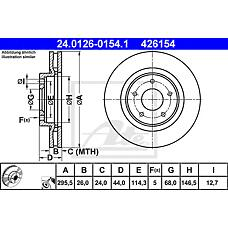 ATE 24.0126-0154.1 (40206JG00A / 40206JD00A / 40206JY01A) диск тормозной передний\ Nissan (Ниссан) qashqai 1.6 / 2.0i / 1.5dci / 2.0dci 07>