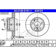 ATE 24.0128-0101.1 (34111159896 / 34111158038 / 34116756090) диск тормозной передний\ BMW (БМВ) e32 / e34 3.0-5.0 m30 / m60 / m70 85>