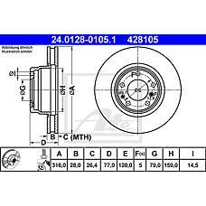 ATE 24.0128-0105.1 (34111162093 / 34116757752 / 230399) диск тормозной