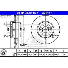 ATE 24.0128-0115.1 (4351233040 / 4351233060 / 4351233041) диск тормозной передний\ Toyota (Тойота) Camry (Камри) 3.0i v6 24v vzv10 91>
