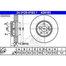 ATE 24.0128-0183.1 (4351220601 / 4351220600 / 4351220590) диск тормозной передний\ Toyota (Тойота) Avensis (Авенсис) 1.6-2.0 / 2.0d 99-01