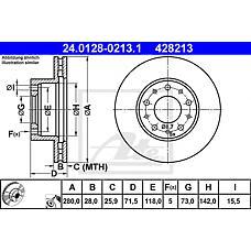 ATE 24.0128-0213.1 (51705749 / 424928 / 424929) диск тормозной
