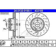 ATE 24.0132-0100.1 (2044211012 / 0004211112 / 0004213012) диск тормозной