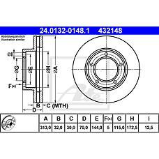 ATE 24.0132-0148.1 (4351260130 / 4351260170 / 4351260171) диск тормозной