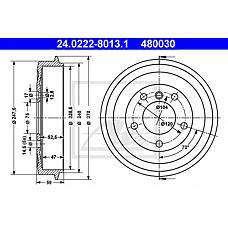 ATE 24.0222-8013.1 (34211159486) барабан тормозной\ BMW (БМВ) e36 1.6 / 1.8 / 1.8tds m40 / m41 / m43 90>