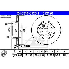 ATE 24.0312-0126.1 (34111160673 / 34116757750 / 34116757751) диск тормозной передний\ BMW (БМВ) e36 / z3 1.6-1.9 / 1.8tds m40-m44 90>