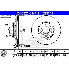 ATE 24.0325-0141.1 (93171497 / 569003 / 9156807) диск тормозной передний\ Opel (Опель) vectra 1.6-2.2dti 02>