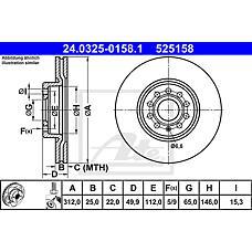 ATE 24.0325-0158.1 (1K0615301AA / 5C0615301B / JZW615301H) диск тормозной передний\ VW Passat (Пассат) 1.6 / 2.0fsi / 1.9 / 2.0tdi 05>