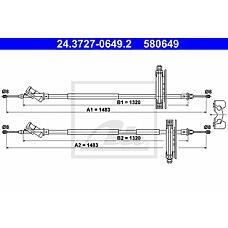 ATE 24.3727-0649.2 (1097285) трос ручного тормоза
