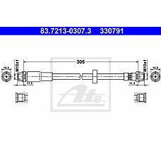 ATE 83.7213-0307.3 (8E0611707G / 8E0611707A / 8E0611707) шланг торм. пер.\ Audi (Ауди) a4 1.6-3.2 04> l=330