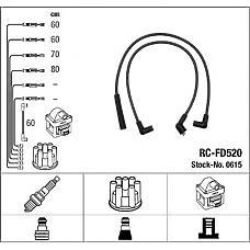 NGK 0615 (1063611 / ZEF1264 / RCFD520) провода высоковольтные, комплект