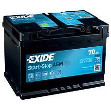 EXIDE EK700 (31255132 / 57412 / 000915105CC) аккумулятор startstop agm 12v 70ah 760a 278х175х190 etn0 en клемы крепление b13