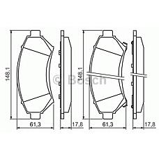 BOSCH 0 986 424 466 (1605947 / 18024962 / 573063) колодки дисковые п.\ Opel (Опель) sintra 2.2i-2.2tdi 96-99