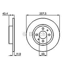 BOSCH 0 986 478 343 (7663466 / 60808872 / 46820655) диск тормозной передний\ Alfa romeo (Альфа ромео) 146 / 155,Fiat (Фиат) Brava (Брава) 1.4-1.9td 88-01