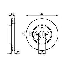 BOSCH 0 986 478 584 (4351220470 / 4351220480 / 4351220580) диск тормозной передний\ Toyota (Тойота) Carina (Карина) 1.6 / 2.0d 92-97 / Celica (Селика) 1.8i 16v 93>