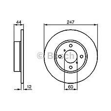 BOSCH 0 986 478 729 (4700711 / 5531183E00 / 9193872) диск тормозной передний\ Suzuki (Сузуки) wagon, Opel (Опель) agila 1.0 / 1.2 / 1.3cdti 00>