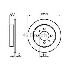 BOSCH 0 986 479 237 (MB857763 / MR249357) диск тормозной задний\ Mitsubishi (Мицубиси) Carisma (Каризма) / Colt (Кольт) / Lancer (Лансер) 1.3-1.6 / 2.0d 92>