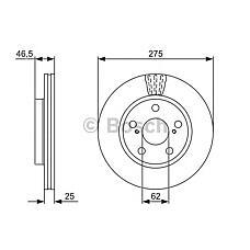 BOSCH 0986479428 (4351242050 / 4351242040 / 6118910) диск тормозной Toyota (Тойота) Camry (Камри) (v40) 06-11 / Rav 4 (Рав 4) 05- передний вент.d=296мм.