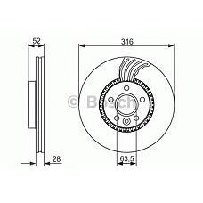 BOSCH 0986479620 (LR000470 / 30769061 / 1434812) диск тормозной Ford (Форд) Galaxy (Галакси) / s-max / Volvo (Вольво) s60 / s80 / v70 / xc70 передний d=316мм. (цена за 1 шт., к-кт 2 шт.)