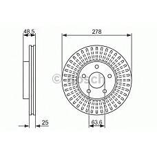 BOSCH 0 986 479 957 (1320352 / 1223663 / 1373369) диск тормозной передний\ Volvo (Вольво) s40 / v50 1.8 / 2.4 / 2.5 / 2.0td 04>