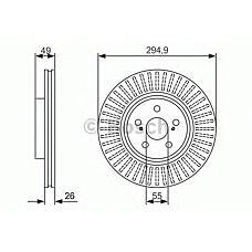 BOSCH 0 986 479 986 (4351205070 / 4351205050 / 4351205110) диск тормозной передний\ Toyota (Тойота) Avensis (Авенсис) 2.4 / 2.0d-4d 03>