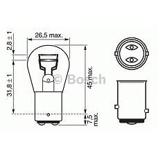 BOSCH 1 987 302 524 (P215W / 4015 / 7537) лампа (p21 / 5w) 24v bay15d задние габариты и стоп-сигнал\