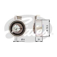 GATES T43072 (06B109243C) ролик натяжителя ремня грм Seat (Сеат) Ibiza (Ибиза) IV 1.8 03- / VW Polo (Поло) 1.8 05-