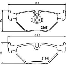 TEXTAR 2169103 (34211164501 / 34211164499 / 34211163395) колодки дисковые задние\ BMW (БМВ) e39 2.0-4.0 / 2.0d-3.0d 95>