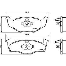 TEXTAR 2186601 (1H0698151B / GDB1306) колодки тормозные дисковые VW