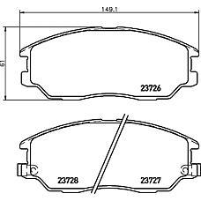 TEXTAR 2372601 (58101H1A80 / 581013FA10 / 4813A21100) колодки дисковые передние\ Hyundai (Хендай) xg350, ssangyong rodius 2.7 / 3.5i v6 03>