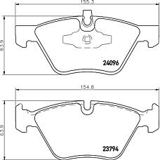 TEXTAR 2409601 (34116763617 / 34116771972 / 34116777772) колодки дисковые передние с антискрип. пласт. \BMW (БМВ) e81 / 82 / 87 / 88 / 90 / 92 2.0-3.0i / 2.0d 04>