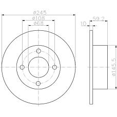 TEXTAR 92026100 (443615601) диск торм. Audi (Ауди) 80 >94 / 100>91 задн.не вент. . 1 шт (min 2 шт)