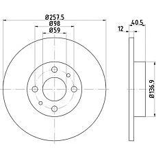 TEXTAR 92041500 (7663466 / 60808872 / 92498609) диск торм. Fiat (Фиат) Marea (Мареа) / Brava (Брава) / bravo перед. вент. 1 шт (min 2 шт)