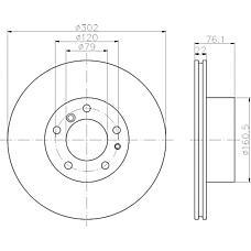 TEXTAR 92042200 (34111160936 / 34111158040 / 34111159897) диск тормозной BMW (БМВ) 5 (e34) 525i, 530i, 7 (e32)
