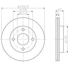 TEXTAR 92051000 (5028281 / 5022654 / 6191064) диск торм. Ford (Форд) Escort (Эскорт) / Fiesta (Фиеста) перед. вент.. 1 шт (min 2 шт)