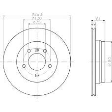 TEXTAR 92075103 (34211164840 / 34211164175 / 34211163153) диск тормозной задний\ BMW (БМВ) e39 2.3-4.0 m51 / m52 / m54 / m57 / m62 95>